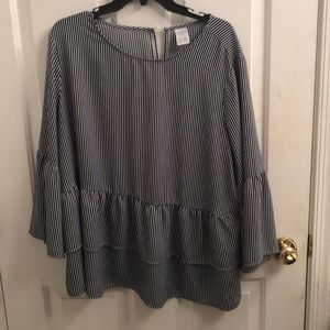 Navy blue and white striped blouse **NEW**